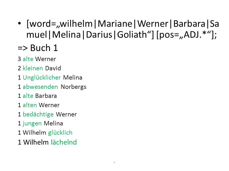 "[word=""wilhelm|Mariane|Werner|Barbara|Samuel|Melina|Darius|Goliath ] [pos=""ADJ.* ];"